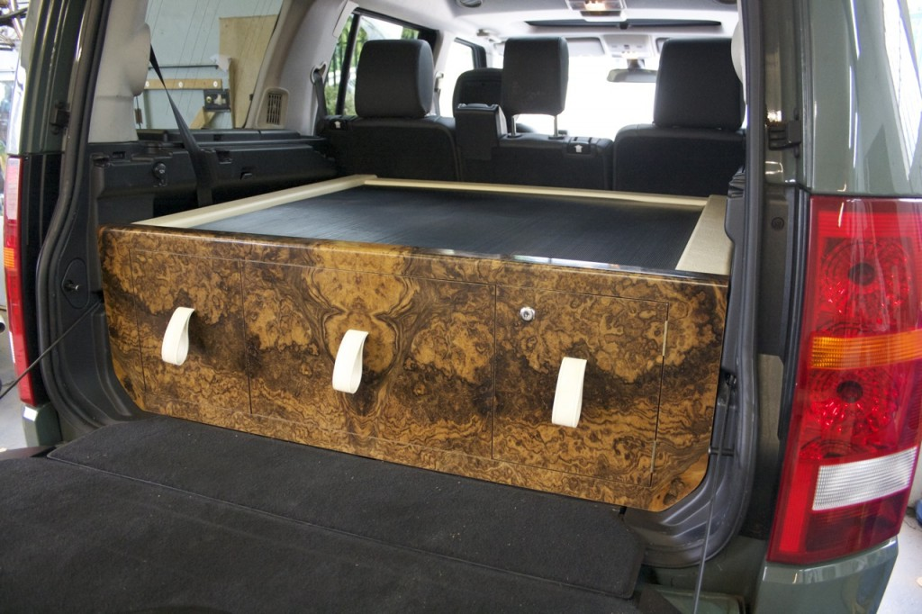 Land Rover Discovery bespoke wooden boot chest