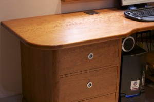 Three drawer pedestal desk